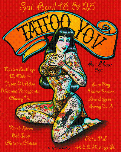 International lowbrow artists display tattoo themed paintings,drawing